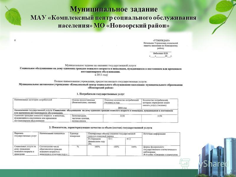 Муниципальное задание МАУ «Комплексный центр социального обслуживания населения» МО «Новоорский район»