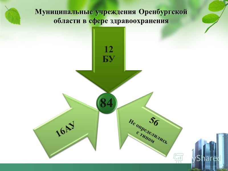 Муниципальные учреждения Оренбургской области в сфере здравоохранения 12 БУ 56 Не определились с типом 16АУ 84