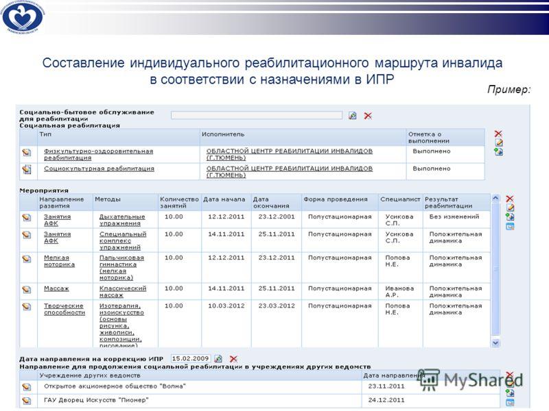 Составление индивидуального реабилитационного маршрута инвалида в соответствии с назначениями в ИПР Пример: