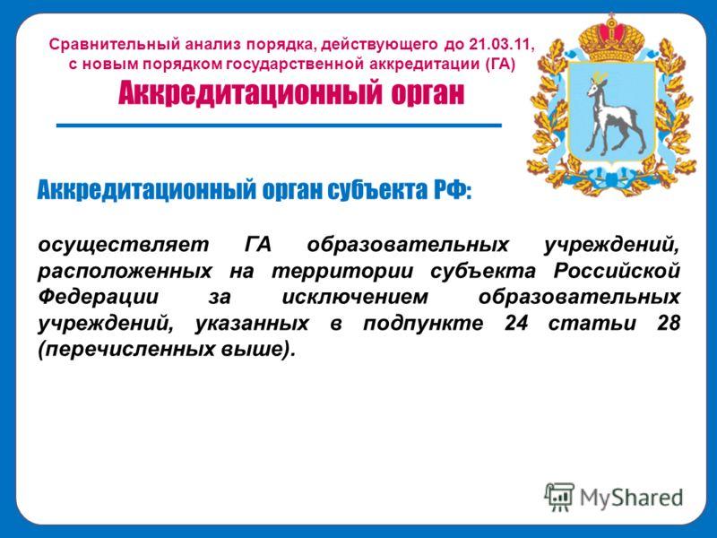 Сравнительный анализ порядка, действующего до 21.03.11, с новым порядком государственной аккредитации (ГА) Аккредитационный орган Аккредитационный орган субъекта РФ: осуществляет ГА образовательных учреждений, расположенных на территории субъекта Рос