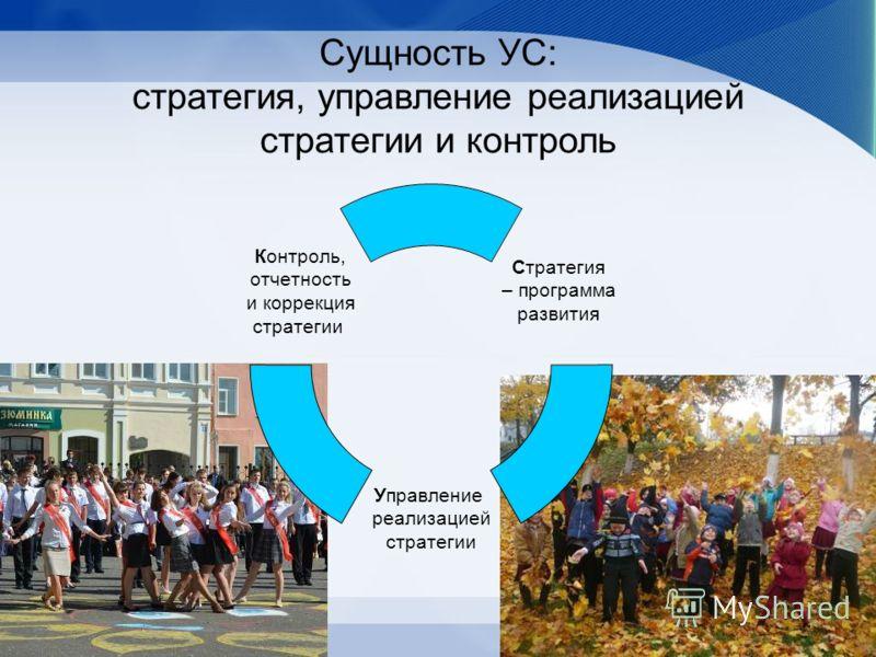 Сущность УС: стратегия, управление реализацией стратегии и контроль Стратегия – программа развития Управление реализацией стратегии Контроль, отчетность и коррекция стратегии