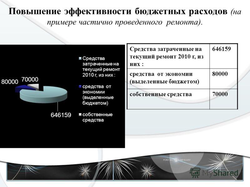 Повышение эффективности бюджетных расходов (на примере частично проведенного ремонта). Средства затраченные на текущий ремонт 2010 г, из них : 646159 средства от экономии (выделенные бюджетом) 80000 собственные средства70000