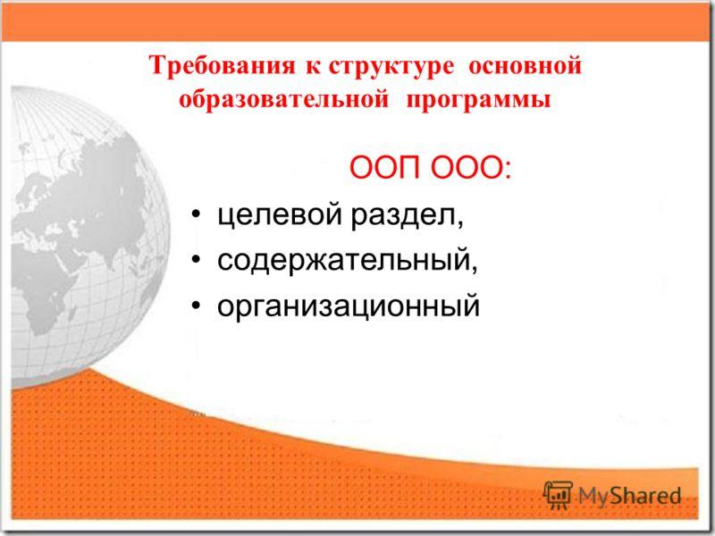 Требования к структуре основной образовательной программы ООП ООО: целевой раздел, содержательный, организационный