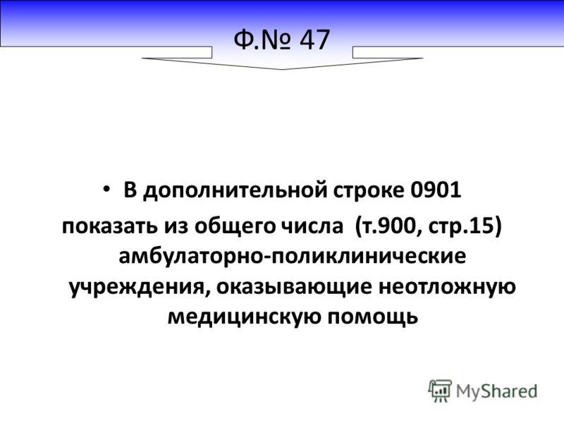 Ф. 47 В дополнительной строке 0901 показать из общего числа (т.900, стр.15) амбулаторно-поликлинические учреждения, оказывающие неотложную медицинскую помощь