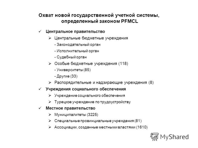 Охват новой государственной учетной системы, определенный законом PFMCL Центральное правительство Центральные бюджетные учреждения - Законодательный орган - Исполнительный орган - Судебный орган Особые бюджетные учреждения (118) - Университеты (85) -