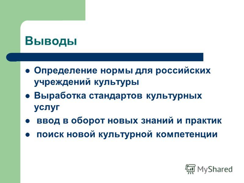 Выводы Определение нормы для российских учреждений культуры Выработка стандартов культурных услуг ввод в оборот новых знаний и практик поиск новой культурной компетенции