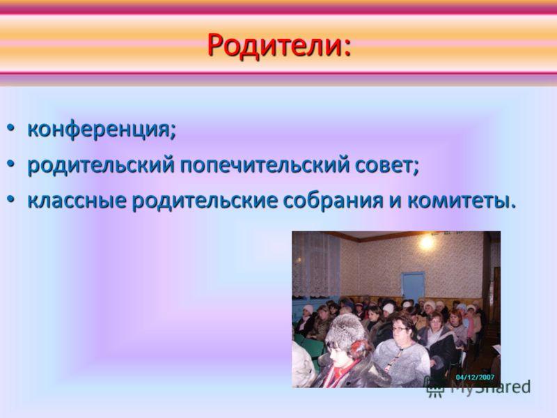 Родители: конференция; конференция; родительский попечительский совет; родительский попечительский совет; классные родительские собрания и комитеты. классные родительские собрания и комитеты.