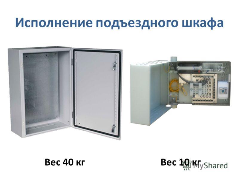 Исполнение подъездного шкафа Вес 40 кгВес 10 кг