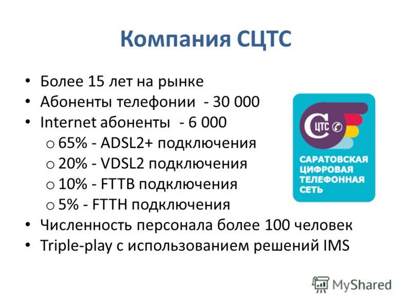 Компания СЦТС Более 15 лет на рынке Абоненты телефонии - 30.000 Internet абоненты - 6.000 o 65% - ADSL2+ подключения o 20% - VDSL2 подключения o 10% - FTTB подключения o 5% - FTTH подключения Численность персонала более 100 человек Triple-play с испо