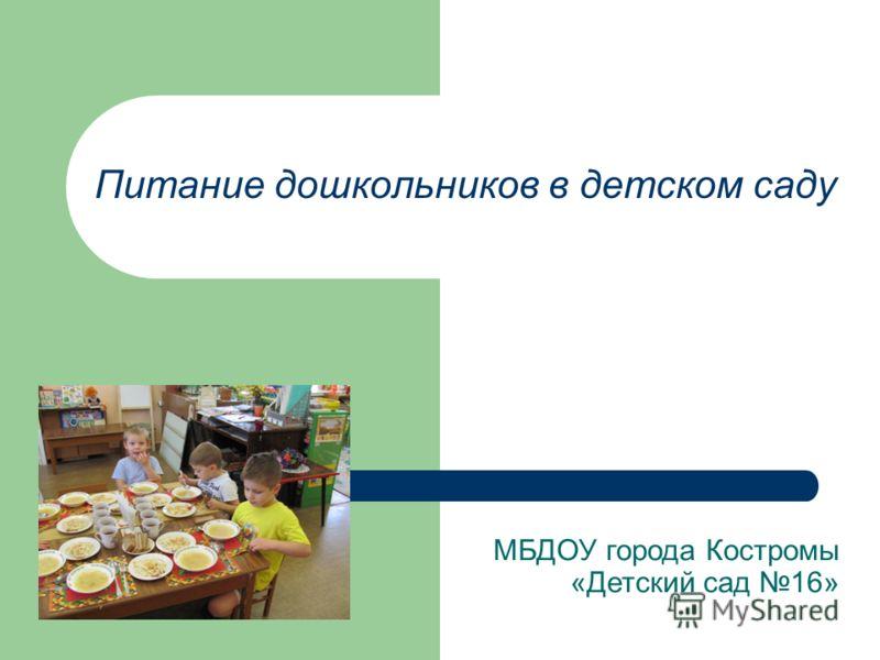 Питание дошкольников в детском саду МБДОУ города Костромы «Детский сад 16»