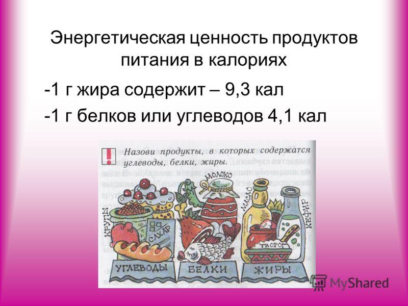 Энергетическая ценность продуктов питания в калориях -1 г жира содержит – 9,3 кал -1 г белков или углеводов 4,1 кал