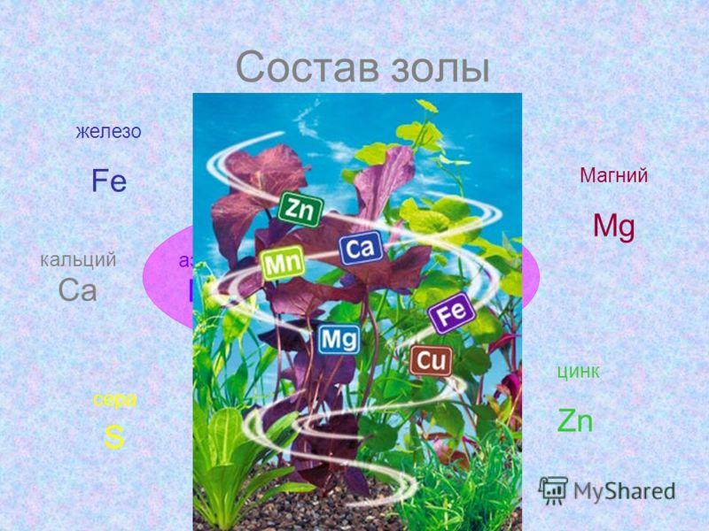 Состав золы азот N фосфор P кальций Ca Медь Cu железо Fe Молибден Mo сера S марганец Mn Магний Mg цинк Zn калий K