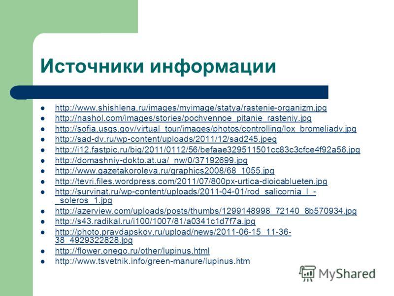 Источники информации http://www.shishlena.ru/images/myimage/statya/rastenie-organizm.jpg http://nashol.com/images/stories/pochvennoe_pitanie_rasteniy.jpg http://sofia.usgs.gov/virtual_tour/images/photos/controlling/lox_bromeliadv.jpg http://sad-dv.ru