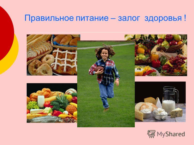 Правильное питание – залог здоровья !