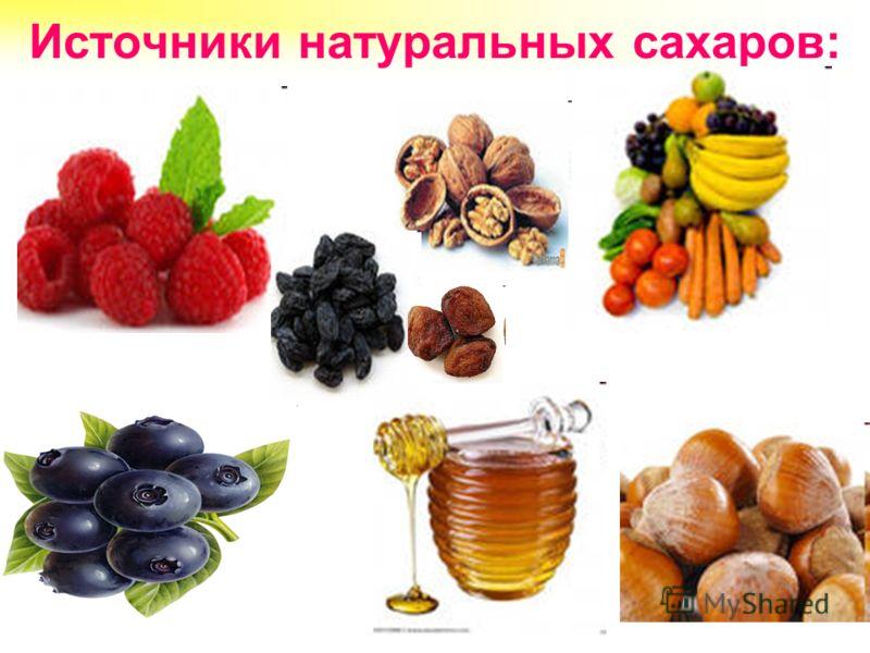 Источники натуральных сахаров: