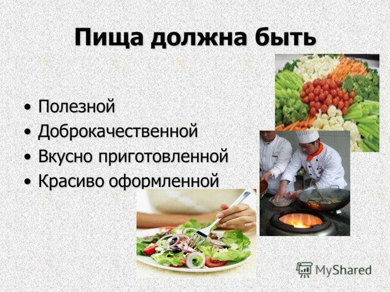 Пища должна быть ПолезнойПолезной ДоброкачественнойДоброкачественной Вкусно приготовленнойВкусно приготовленной Красиво оформленнойКрасиво оформленной