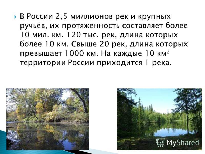 В России 2,5 миллионов рек и крупных ручьёв, их протяженность составляет более 10 мил. км. 120 тыс. рек, длина которых более 10 км. Свыше 20 рек, длина которых превышает 1000 км. На каждые 10 км 2 территории России приходится 1 река.