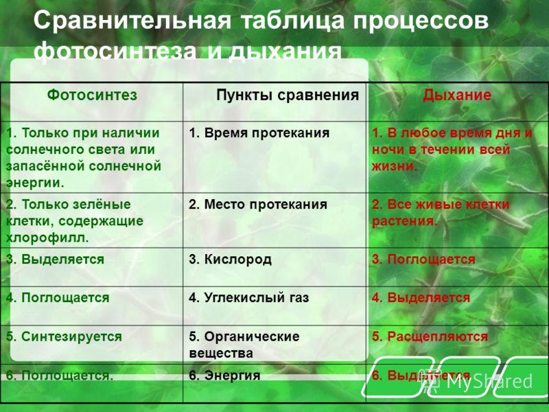 Сравнительная таблица процессов фотосинтеза и дыхания Фотосинтез Пункты сравнения Дыхание 1. Только при наличии солнечного света или запасённой солнечной энергии. 1. Время протекания1. В любое время дня и ночи в течении всей жизни. 2. Только зелёные