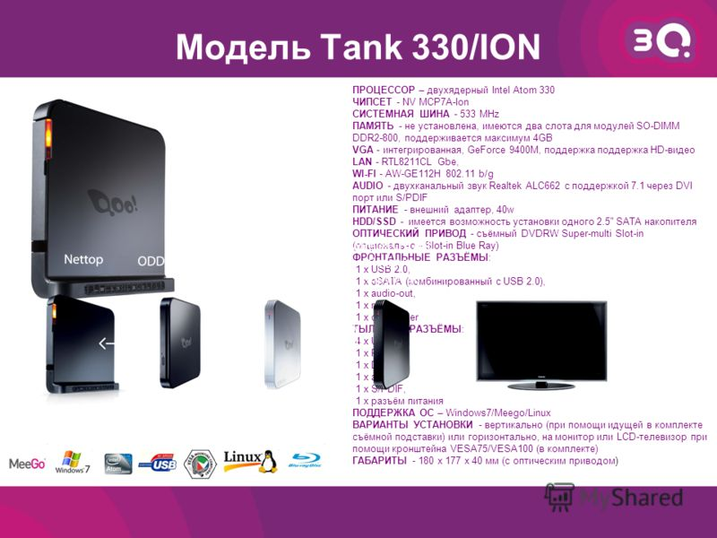 Модель Tank 330/ION ПРОЦЕССОР – двухядерный Intel Atom 330 ЧИПСЕТ - NV MCP7A-Ion СИСТЕМНАЯ ШИНА - 533 MHz ПАМЯТЬ - не установлена, имеются два слота для модулей SO-DIMM DDR2-800, поддерживается максимум 4GB VGA - интегрированная, GeForce 9400M, подде