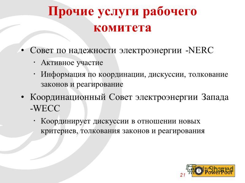 21 Совет по надежности электроэнергии -NERC Активное участие Информация по координации, дискуссии, толкование законов и реагирование Координационный Совет электроэнергии Запада -WECC Координирует дискуссии в отношении новых критериев, толкования зако