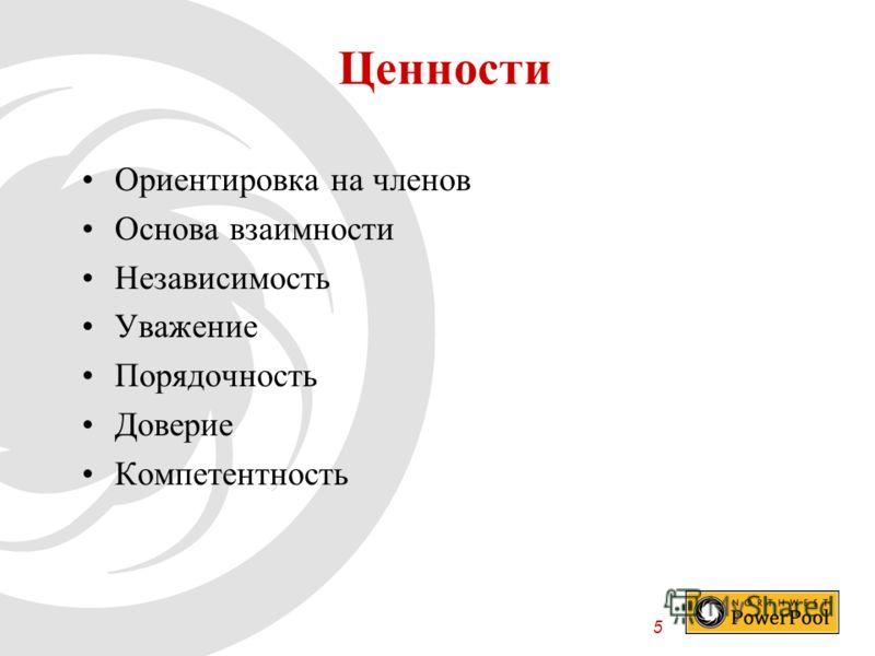 5 Ценности Ориентировка на членов Основа взаимности Независимость Уважение Порядочность Доверие Компетентность