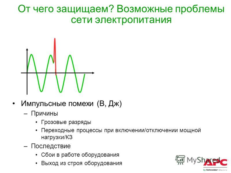 От чего защищаем? Возможные проблемы сети электропитания Импульсные помехи (В, Дж) –Причины Грозовые разряды Переходные процессы при включении/отключении мощной нагрузки/КЗ –Последствие Сбои в работе оборудования Выход из строя оборудования