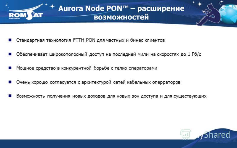 Aurora Node PON – расширение возможностей Стандартная технология FTTH PON для частных и бинес клиентов Обеспечивает широкополосный доступ на последней мили на скоростях до 1 Гб/c Мощное средство в конкурентной борьбе с телко операторами Очень хорошо