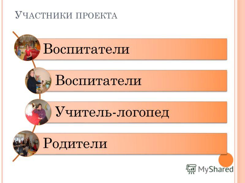 У ЧАСТНИКИ ПРОЕКТА Воспитатели Учитель-логопед Родители