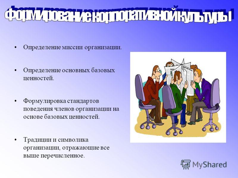 Определение миссии организации. Определение основных базовых ценностей. Формулировка стандартов поведения членов организации на основе базовых ценностей. Традиции и символика организации, отражающие все выше перечисленное.