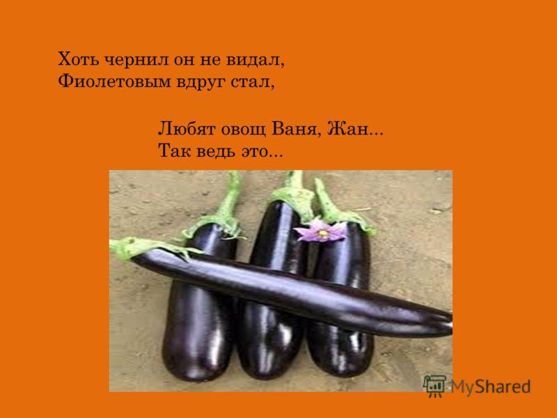 Хоть чернил он не видал, Фиолетовым вдруг стал, Любят овощ Ваня, Жан... Так ведь это...
