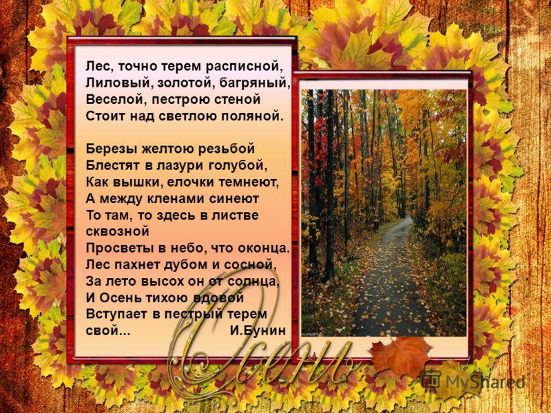 Лес, точно терем расписной, Лиловый, золотой, багряный, Веселой, пестрою стеной Стоит над светлою поляной. Березы желтою резьбой Блестят в лазури голубой, Как вышки, елочки темнеют, А между кленами синеют То там, то здесь в листве сквозной Просветы в