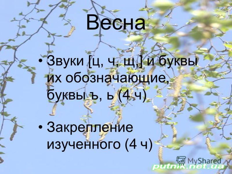 Весна Звуки [ц, ч, щ,] и буквы их обозначающие, буквы ъ, ь (4 ч) Закрепление изученного (4 ч)