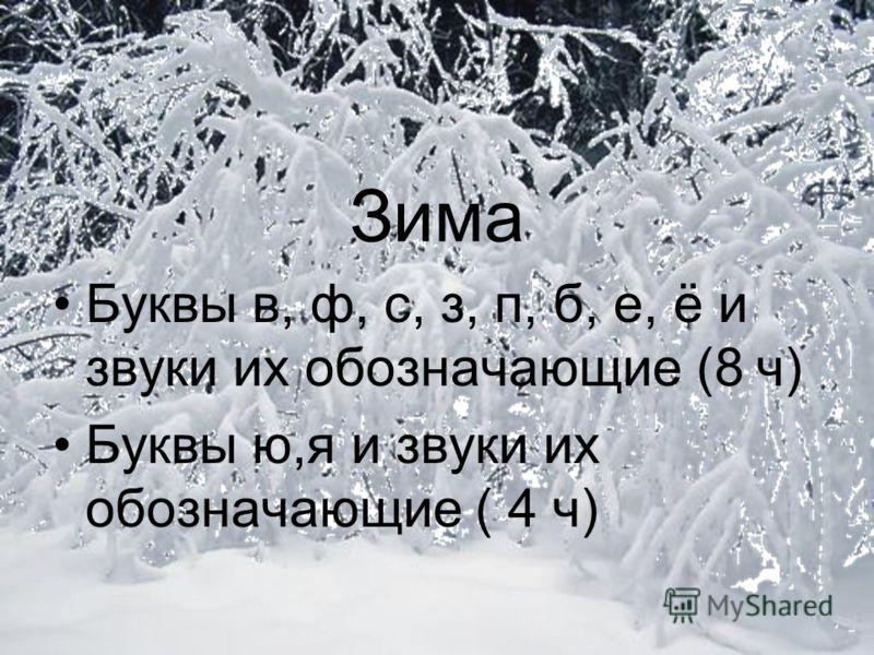 Зима Буквы в, ф, с, з, п, б, е, ё и звуки их обозначающие (8 ч) Буквы ю,я и звуки их обозначающие ( 4 ч)