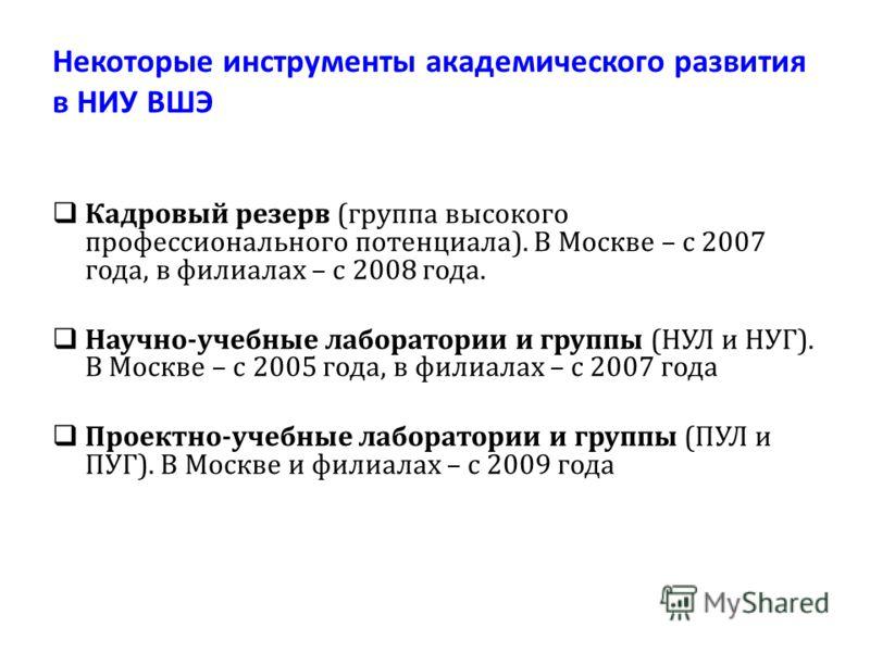 Некоторые инструменты академического развития в НИУ ВШЭ Кадровый резерв (группа высокого профессионального потенциала). В Москве – с 2007 года, в филиалах – с 2008 года. Научно-учебные лаборатории и группы (НУЛ и НУГ). В Москве – с 2005 года, в филиа