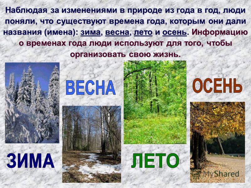 Наблюдая за изменениями в природе из года в год, люди поняли, что существуют времена года, которым они дали названия (имена): зима, весна, лето и осень. Информацию о временах года люди используют для того, чтобы организовать свою жизнь.