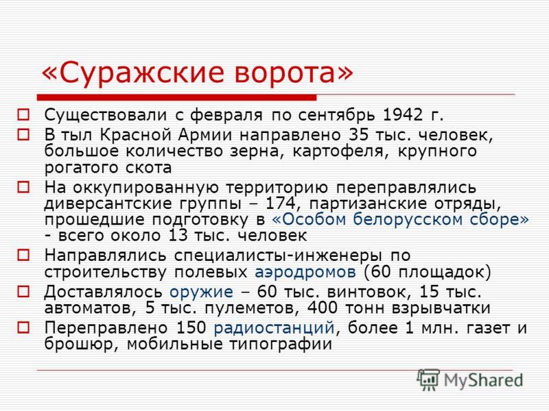 «Суражские ворота» Существовали с февраля по сентябрь 1942 г. В тыл Красной Армии направлено 35 тыс. человек, большое количество зерна, картофеля, крупного рогатого скота На оккупированную территорию переправлялись диверсантские группы – 174, партиза