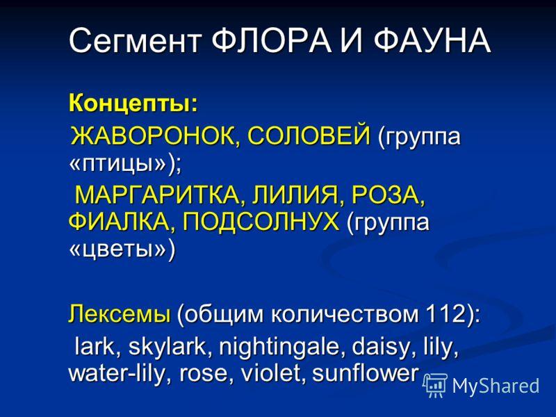 Сегмент ФЛОРА И ФАУНА Концепты: ЖАВОРОНОК, СОЛОВЕЙ (группа «птицы»); ЖАВОРОНОК, СОЛОВЕЙ (группа «птицы»); МАРГАРИТКА, ЛИЛИЯ, РОЗА, ФИАЛКА, ПОДСОЛНУХ (группа «цветы») МАРГАРИТКА, ЛИЛИЯ, РОЗА, ФИАЛКА, ПОДСОЛНУХ (группа «цветы») Лексемы (общим количеств