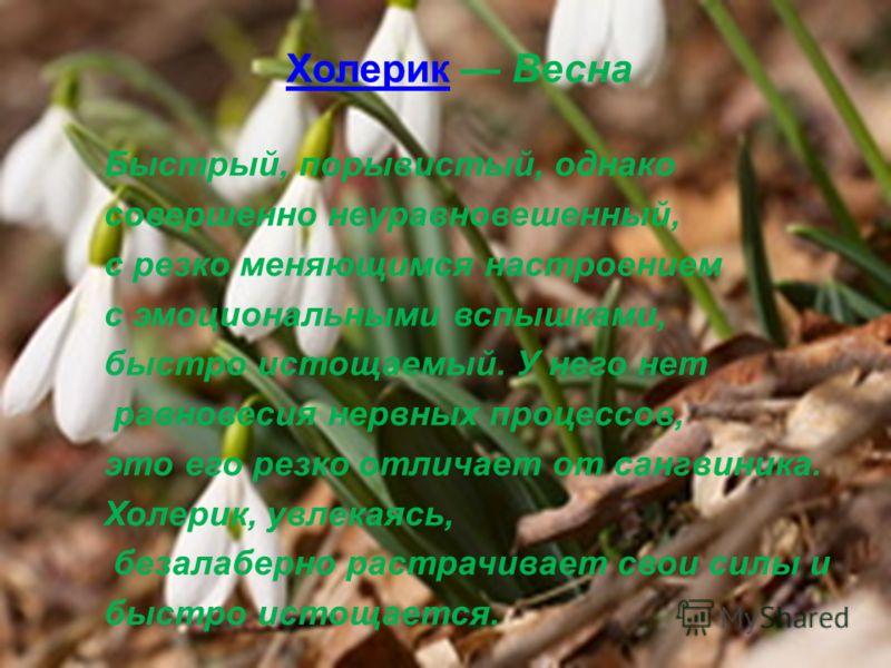 ХолерикХолерик Весна Быстрый, порывистый, однако совершенно неуравновешенный, с резко меняющимся настроением с эмоциональными вспышками, быстро истощаемый. У него нет равновесия нервных процессов, это его резко отличает от сангвиника. Холерик, увлека