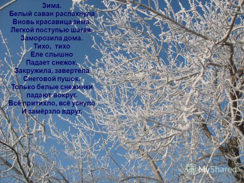 Зима. Белый саван распахнула Вновь красавица зима. Легкой поступью шагая, Заморозила дома. Тихо, тихо Еле слышно Падает снежок. Закружила, завертела Снеговой пушок. Только белые снежинки падают вокруг. Всё притихло, всё уснуло И замёрзло вдруг.