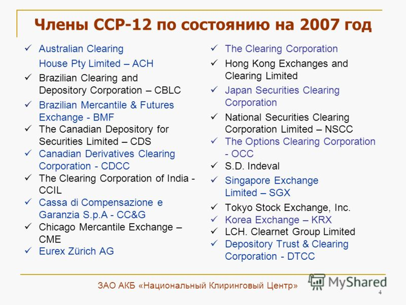 4 Члены CCP-12 по состоянию на 2007 год Australian Clearing House Pty Limited – ACH Brazilian Clearing and Depository Corporation – CBLC Brazilian Mercantile & Futures Exchange - BMF The Canadian Depository for Securities Limited – CDS Canadian Deriv