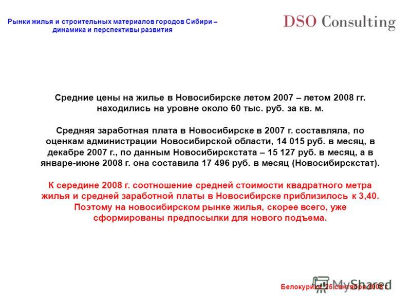 Рынки жилья и строительных материалов городов Сибири – динамика и перспективы развития Белокуриха, 25 сентября 2008 г. Средние цены на жилье в Новосибирске летом 2007 – летом 2008 гг. находились на уровне около 60 тыс. руб. за кв. м. Средняя заработн