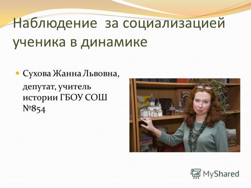 Наблюдение за социализацией ученика в динамике Сухова Жанна Львовна, депутат, учитель истории ГБОУ СОШ 854