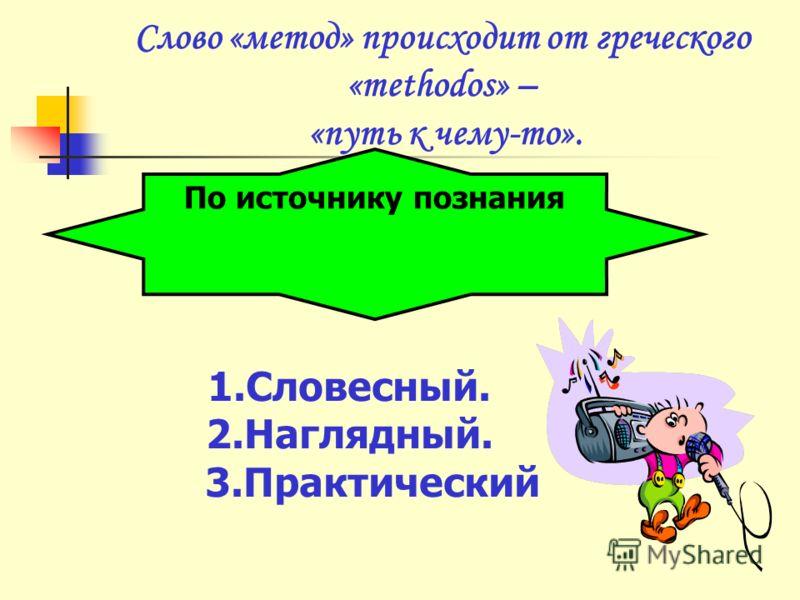 Слово «метод» происходит от греческого «methodos» – «путь к чему-то». По источнику познания 1.Словесный. 2.Наглядный. 3.Практический