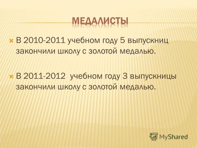 В 2010-2011 учебном году 5 выпускниц закончили школу с золотой медалью. В 2011-2012 учебном году 3 выпускницы закончили школу с золотой медалью.
