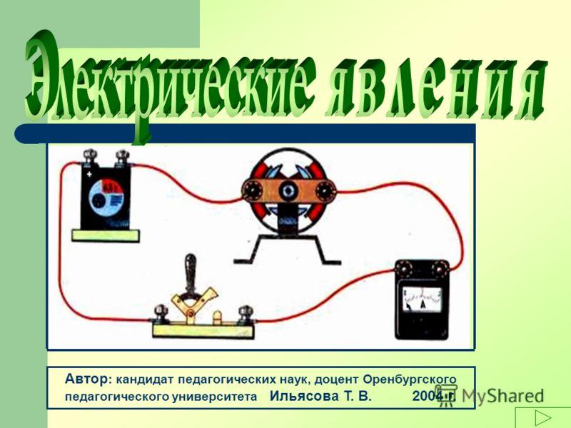 Автор : кандидат педагогических наук, доцент Оренбургского педагогического университета Ильясова Т. В. 2004 г.