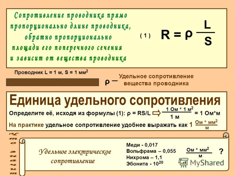 S R = L ρ ( 1 ) Проводник L = 1 м, S = 1 мм 2 ρ Удельное сопротивление вещества проводника Определите её, исходя из формулы (1): ρ = RS/L = 1 Ом*м 1 Ом * 1 м 2 1 м На практике удельное сопротивление удобнее выражать как 1 Ом * мм 2 м Удельное электри