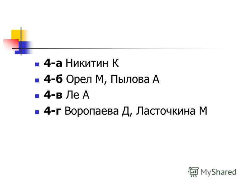 4-а Никитин К 4-б Орел М, Пылова А 4-в Ле А 4-г Воропаева Д, Ласточкина М
