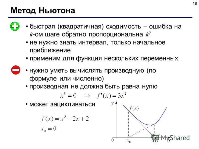 18 Метод Ньютона быстрая (квадратичная) сходимость – ошибка на k -ом шаге обратно пропорциональна k 2 не нужно знать интервал, только начальное приближение применим для функция нескольких переменных нужно уметь вычислять производную (по формуле или ч