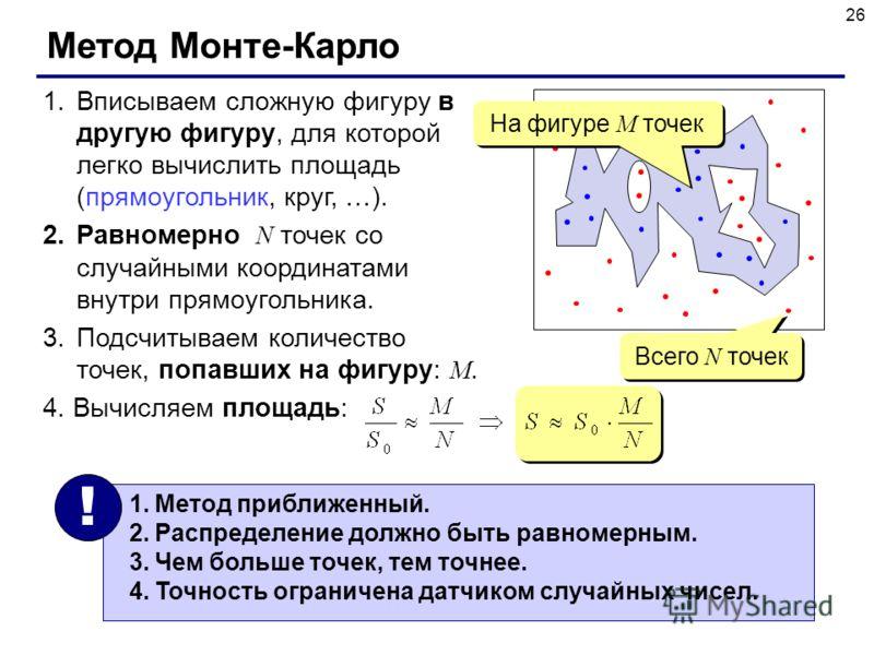 26 Метод Монте-Карло 1.Вписываем сложную фигуру в другую фигуру, для которой легко вычислить площадь (прямоугольник, круг, …). 2.Равномерно N точек со случайными координатами внутри прямоугольника. 3.Подсчитываем количество точек, попавших на фигуру: