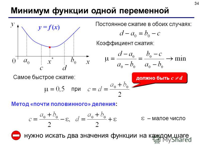 34 Минимум функции одной переменной Постоянное сжатие в обоих случаях: y = f (x) Коэффициент сжатия: Самое быстрое сжатие: при должно быть c d Метод «почти половинного» деления: – малое число нужно искать два значения функции на каждом шаге